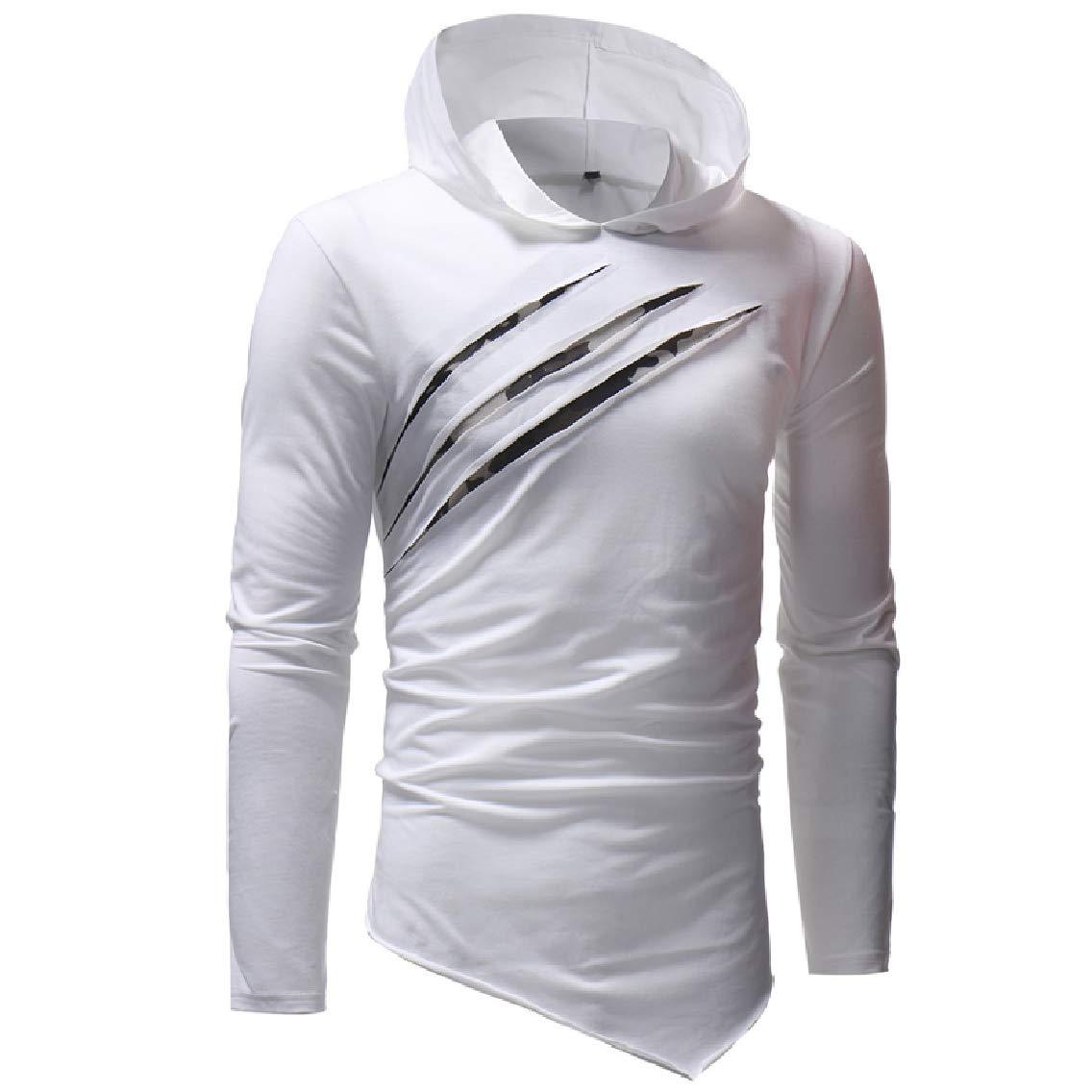 GodeyesMen Splicing Hood Spring//Autumn Causal Pullover Long Sleeve T-Shirt