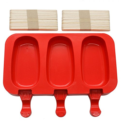 HUELE 3 Cavities Silicone Ice Pop Mold, Ice Cream Bar Mold Popsicle Molds DIY Ice Cream Maker with 40 Wooden Sticks (Oval) - Oval Ice Cream Maker
