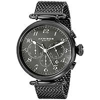 Akribos XXIV Reloj AK627BK Retro para hombre con cronógrafo y correa de malla de acero inoxidable negro
