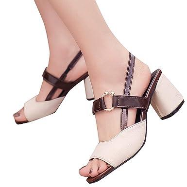 782cce24bee1b Sandalias de Vestir Mujer Verano 2019 ❤ABsoar Zapatos de tacón Mujer  Sandalias Gruesas de tacón Alto para Mujer Chanclas Una Palabra Hebilla  Mocasines ...