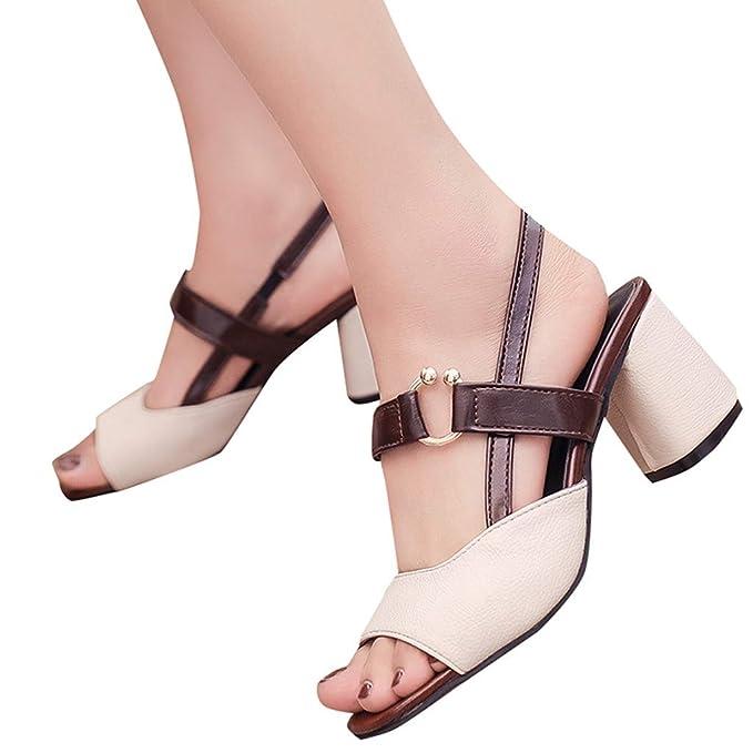 Sandalias de Vestir Mujer Verano 2019 ❤ABsoar Zapatos de tacón Mujer Sandalias Gruesas de tacón Alto para Mujer Chanclas Una Palabra Hebilla Mocasines ...