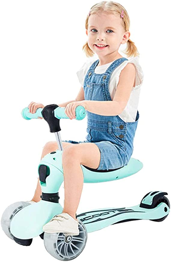 LBLA 2 in 1 Scooter for Kids with Folding Seats Removable & Adjustable, 3 Wheels Mini Kick Scooter with Light for Girls & Boys Toddlers Ages 2 Years or Older (Green)