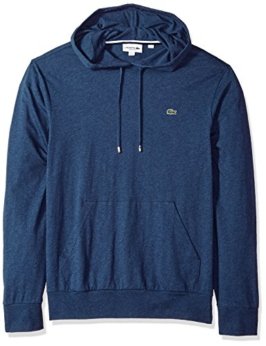 Lacoste Men's Long Sleeve Jersey Hoodie Tee with Central Pocket, TH9349, Nocturnal Blue Chine, (Lacoste Crocodile Logo)