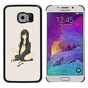 TopCaseStore / la caja del caucho duro de la cubierta de protección de la piel - Cute Sexy Japanese Anime Girl & Cat - Samsung Galaxy S6 EDGE SM-G925
