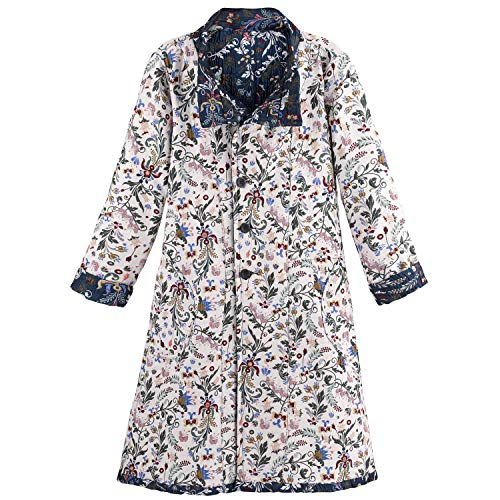 - CATALOG CLASSICS Women's Reversible Floral Jacquard Coat - Button Front Jacket - Large Blue