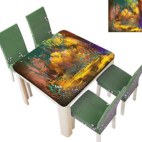 Printsonne Indoor/Outdoor Polyester Tablecloth Imaginary Psychedelic Feature Fairy Jungle Boho Wedding Party 50 x 50 Inch (Elastic -