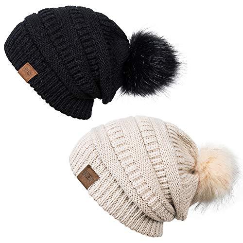 2b2824f4dd4 REDESS Women Winter Pom Pom Beanie Hat with Warm Fleece Lined