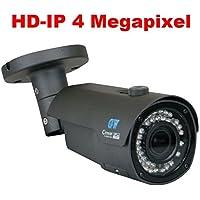 GW Security Outdoor 4 Megapixel HD 1520P POE H.265/H.264 ONVIF Weatherproof Bullet 4MP IP Security Camera, 2.8-12mm Varifocal Lens (Grey)