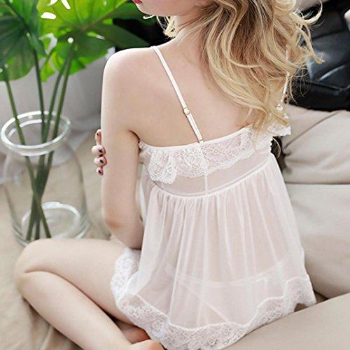 Zarupeng Damen Spitze Babydoll Unterwäsche Nachtwäsche Nachthemd Dessous Schulterfrei Kurzkleid Weiß