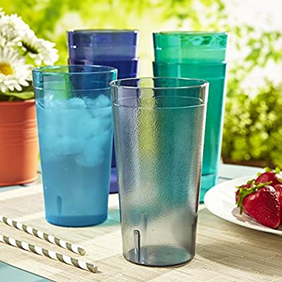 Cafe 20-ounce Break-Resistant Plastic Restaurant-Quality Beverage Tumblers | Set of 16