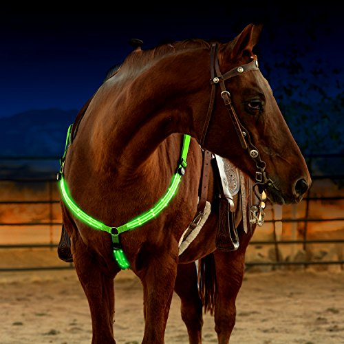 LED Horse Breastplate Collar - USB Rechargeable - Best High Visibility Tack For Horseback Riding - Adjustable, Sturdy & Comfortable Hi-Viz Equestrian Safety Gear - Makes Your Horse Visible and Seen