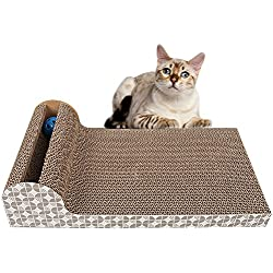 "Old Tjikko Cat Scratch Pad,Scratcher with Catnip,Scratching Posts,Cat Toy Scratch Board Lounge with Bell-Ball (18.1""x 9.84"" x 4.33"")"