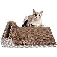"Old Tjikko Cat Scratch Pad,Scratcher with Catnip,Scratching Posts,Cat Toy Scratch Board Lounge with Bell-Ball (18.1""x 9.84"" x 4.33"")"