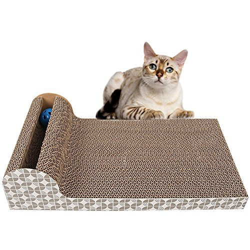 Cat Scratch Pad,Scratcher with Catnip,Scratching Posts,Cat Toy Scratch Board Lounge with Bell-Ball (18.1