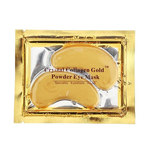 Gold Eye Mask Power Crystal Gel Collagen Masks 5 Pack - Removes Puffiness, Reduces Dark Circles