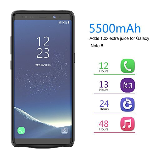 RUNSY Galaxy Note 8 Battery situation 5500mAh Rechargeable Extended Battery Charging situation for Samsung Galaxy Note 8 External Battery Charger situation Backup strength Bank situation Black Battery Charger Cases