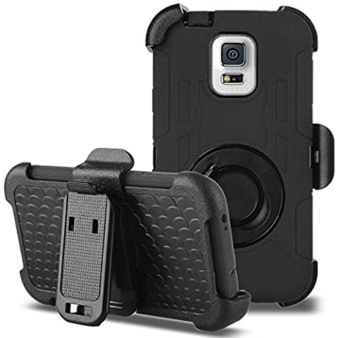 Galaxy S5 Case, ULAK Hybrid Rugged triple Layer Protection Holster Case for Samsung Galaxy S5 with Built-in Rotating Stand and Belt Swivel Clip - (Best Samsung S5 Case)