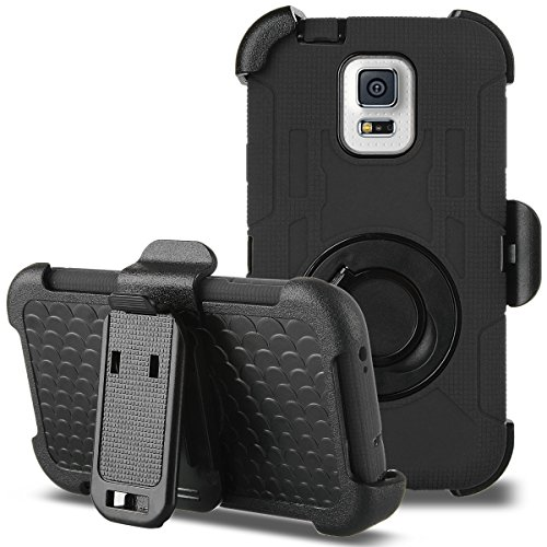 Galaxy S5 Case, ULAK Hybrid Rugged triple Layer Protection Holster Case for Samsung Galaxy S5 with Built-in Rotating Stand and Belt Swivel Clip - Black (Galaxy Pedestal)