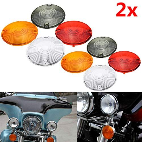 Star-Shopinc - 2pcs Motorcycle Turn Signal Light Indicator Lens Cover For Harley Davidson Road King Glide