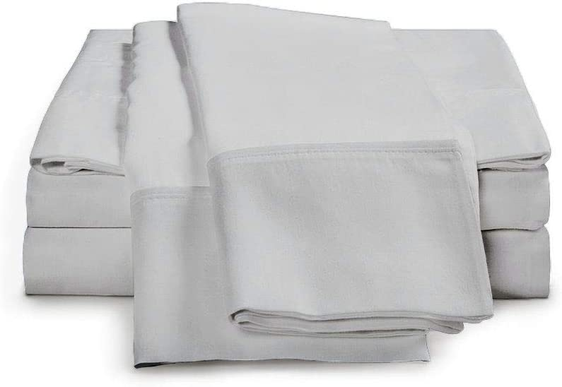 Luxury Hotel-Bedding 100% Egyptian Cotton - 1000 Thread Count Hypoallergenic 4 Piece Sheet Set Fits Mattress Up 16'' to 18'' Deep Pocket (Expanded/Olympic Queen (66'' x 80''), Silver Grey Solid)