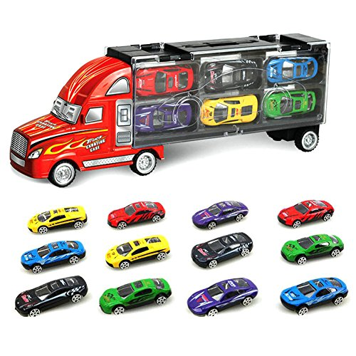 -[ SINACO Transport Car Carrier Truck Toy for Boys Includes 12 Metal Cars Handheld Gift Package  ]-