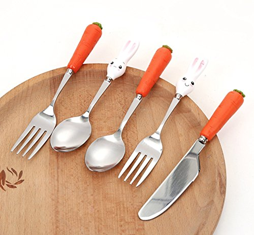 Walden Theory Stainless Steel Novelty Silverware Set, 3-Piece Cutlery Set Including Spoon Knife Fork, Rabbit and Carrot Handle, Children's Day Gift, Birthday Gift for Kids