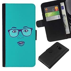 EJOY---La carpeta del tirón la caja de cuero de alta calidad de la PU Caso protector / HTC One M7 / --Cara atractiva Gafas Labios azules de la mujer