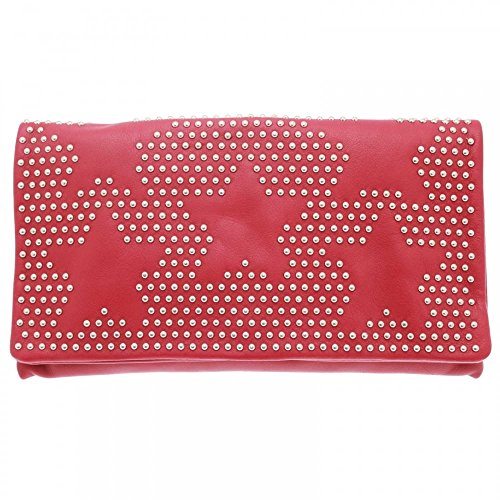 Abro Star Studded Pouch Style Clutch Bag Red