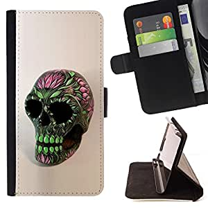 Momo Phone Case / Flip Funda de Cuero Case Cover - Cráneo floral de la primavera Verde Rosa Muerte - Samsung Galaxy S6