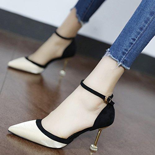 Xue Qiqi Court Schuhe Im Licht der high-heel Schuhe mode Frau Schuhe für elegante Damast Tipp einzelne Schuhe mit Schlitz