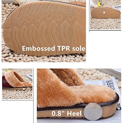 Samsay Zapatillas De Casa De Cuero Genuino Unisex Cálido Suave Felpa Forro Polar Sandalias Zapatos De Café