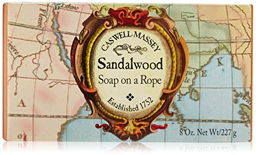 Caswell-Massey Triple Milled Luxury Bath Soap Sandalwood Soap On A Rope - Famed Fragrance - 8 Ounces
