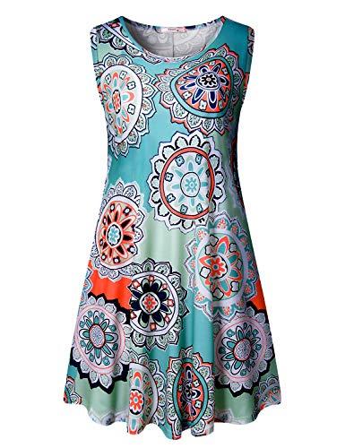Tanst Sky Women Summer Sleeveless Damask Print T-Shirt Dress with Pockets(S-3XL)