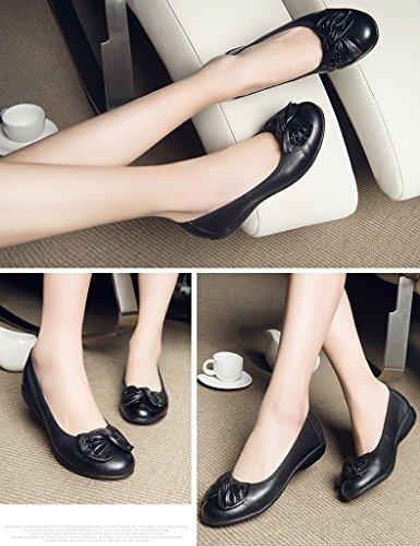 femmes Noir plat cuir âgées HWF chaussures femme en d'été Noir moyen d'âge Chaussures Chaussures taille 36 moyen Couleur d'âge femelles H7x0xn6Awq