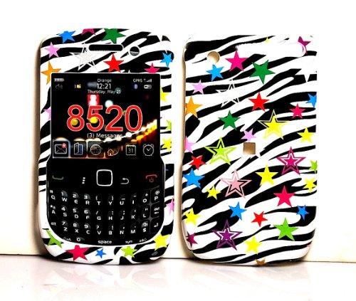 Rainbow Zebra Star Snap on Hard Skin Faceplate Cover Case for Blackberry Curve 8520 (Curve Rainbow Zebra Cover)