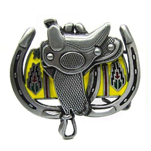 Cowboy Horse Saddle Double Horseshoes Belt Buckle Country & Western Rodeo Jeans from Fancy Apparel