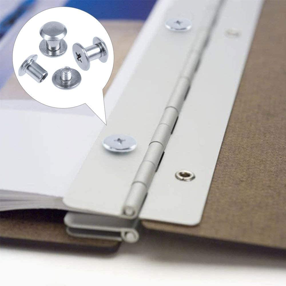 18mm Remache Tornillo Cabeza de Cruz Redondo Binding Screws para DIY libros 15mm ManLee 80pcs Juego Tornillo de Cuero de Encuadernaci/ón Tornillo de Chicago Acero Niquelado M5 x 6mm,10 mm 12mm