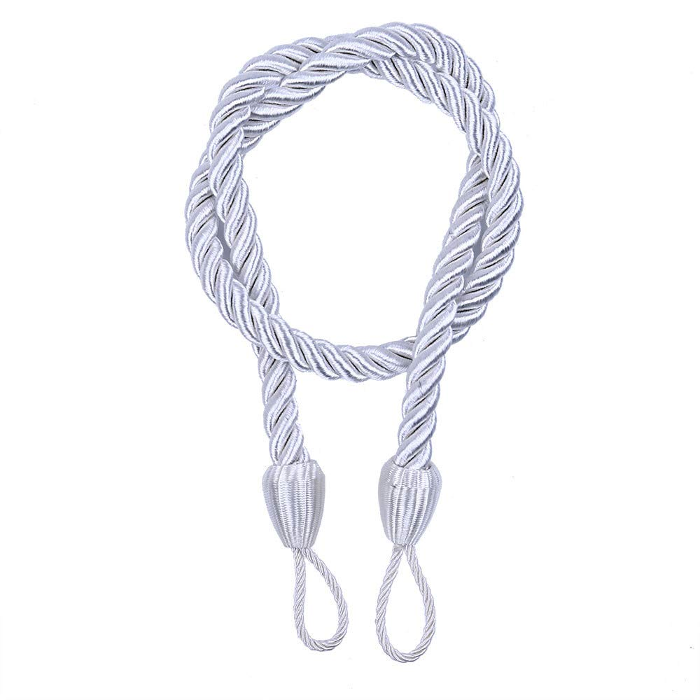Ropes Tie Backs for Window Curtain Cord Buckle Tiebacks Braided Tie Backs Holdbacks Ropes for Indoor Outdoor Uses (White)