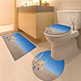 3 Piece Toilet Cover setIllustration Town of Famous Movie Set on the Planet Wars Themed Pattern Fabric with H Extra Soft Memory Foam Combo - Rug, Contour Mat and Lid Cover