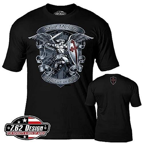7.62 Design Saint Michael 'Defend Us' Men's T-Shirt MD Black