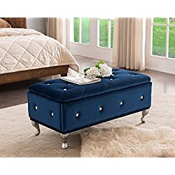 Kings Brand Furniture Blue Velvet Tufted Design Upholstered Storage Bench Ottoman