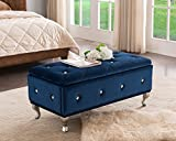 Kings Brand Furniture Blue Velvet Tufted Design Upholstered Storage Bench Ottoman For Sale