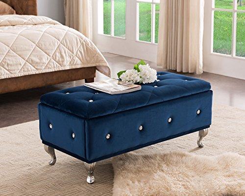 Kings Brand Furniture Blue Velvet Tufted Design Upholstered Storage Bench Ottoman