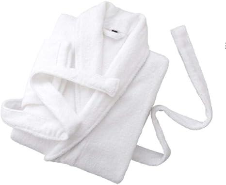 BLACK ELL Albornoz Mujer Hombre Ducha Toalla Rizo,Pareja en Batas de baño, camisón Primavera y otoño algodón-XL_ Blanco,Albornoz Hombre Mujer Ducha Algodon: Amazon.es: Hogar
