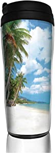 12oz Tumbler with Lid, Stainless Steel Vacuum Insulated Double Wall Travel Tumbler Tropical Beach View with Exotic Palm and Clean Sand by the Sea Hawaii Paradise Durable Insulated Coffee Mug Cream