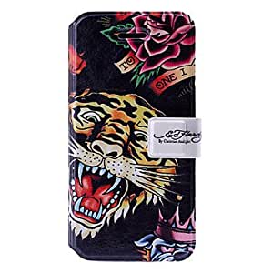 GHK - Tiger Art Pattern Leather Case with Holder & Card Slots for iPhone 5/5S