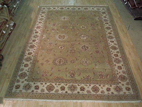 Chobi Carpet - Olive Green-Ivory 9x12 New Oriental Vegetable Dyed Handmade Chobi Carpet
