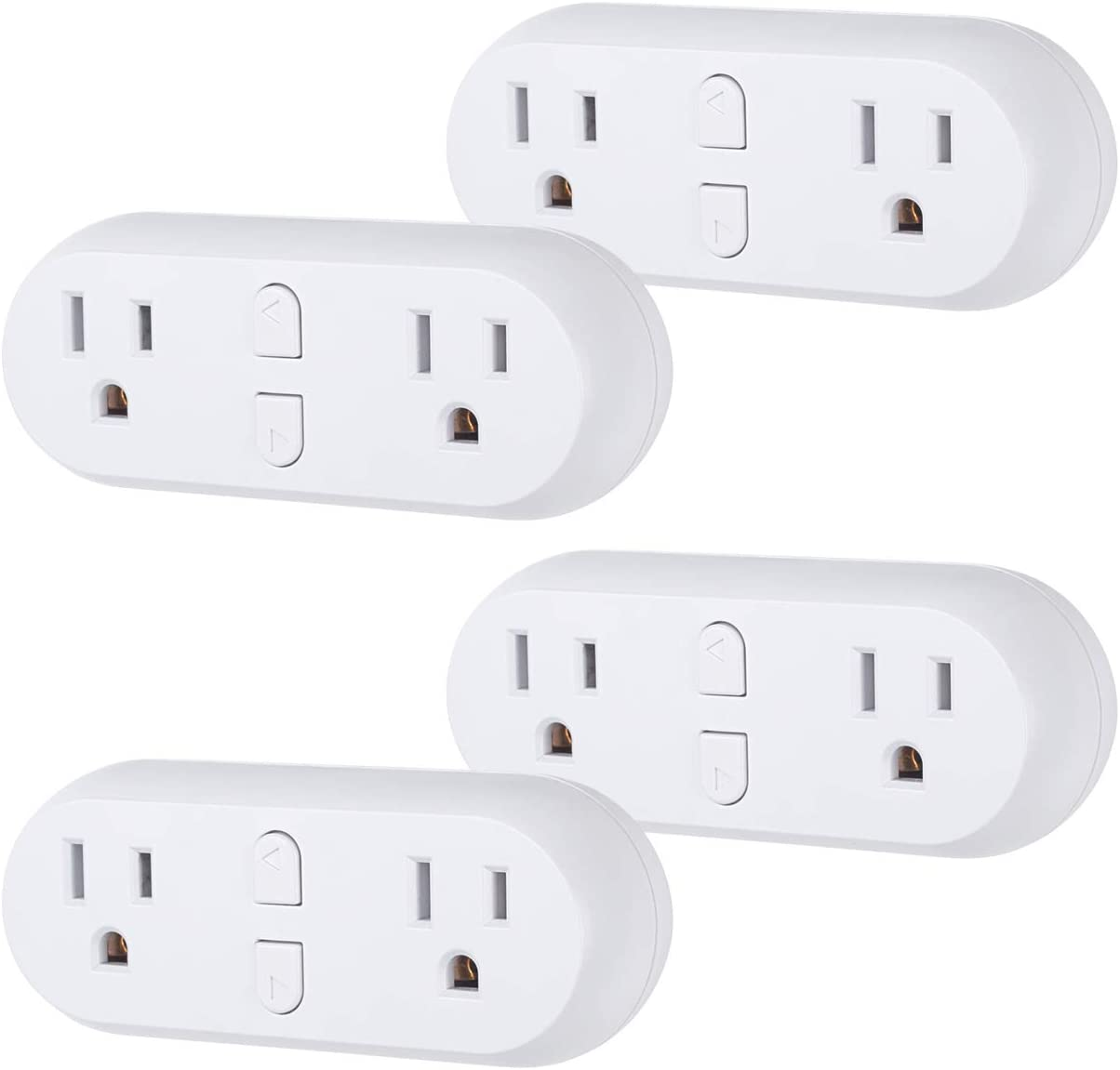 HBN Smart Plug 15A, WiFi Outlet Extender Dual Socket Plugs Works with Alexa, Google Home Assistant, Remote Control with Timer Function, No Hub Required, ETL Certified, 2.4G WiFi Only, 4 - Pack