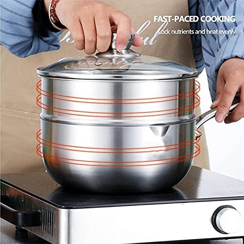 """Pans for cooking Stainless Steel Steamer Pot Food Steamer Soup Pot Soup Pot Steamer Pot Pot Pot Kettle with Lid Milk Frying Pan Baby Double Layer 20cm    """"Welcome to our mallHappy shopping!Our products have been thoroughly tested, inspected and packaged before delivery.If you have any questions, please feel free to contact us so that we can provide you with the best service.""""NJOLG is committed to providing premium and long-lasting cookware, which inspires your passion for cooking.Are you sick and tired of your old steamer that keeps ruining your hard work? Looking for a solid steamer set that gets the job doneOur steamer can meet your complete cooking needs! You can use it as a pot or combine these components in different steamers. And make sure our steamer uses high quality stainless steel, providing you with a durable and healthy cooking tool. The ebb design of the steaming grill and the multilayer composite material bottom make the food evenly heated and delicious. It is also worth mentioning that the steamer can be compatible with a variety of cookers.Stainless Steel Steamer Pot, Food Steamer Cooking Pot Steamer Steamer Steamer Pot Steamer Boiler with Lid, Baby Kitchen Milk JugProduct Name: Multipurpose steamerProduct Material: SUS304 Stainless SteelProduct Layers: Single / Double Layer SteamerProduct Specification: 18/20 / 22cmSurface Technology: Wire Drawing Polishing TreatmentFeatures: Nonstick pan, fast heat conduction, less oily smoke, energy saving and high efficiencyScope: restaurants, hotels, householdsNote: If you have any questions about the order, please contact us via Amazon. We will get back to you within 24 hours. If you need more styles, you can search our LKDF brand. You will have a satisfactory answer. good day.Chaptersdescriptions off, selectedcaptions off, selectedThis is a modal window.If you are not satisfied with our products, please feel free to contact us, we will contact you within 24 hours. For more related product details, please searc"""
