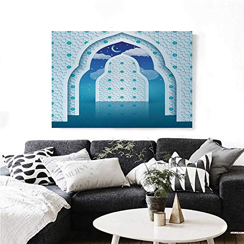 homehot Moroccan Canvas Print Wall Art Eastern Arabic Quote Textured Arch Door with Cloudy Star Sky Night Backdrop Print Artwork for Wall Decor 24